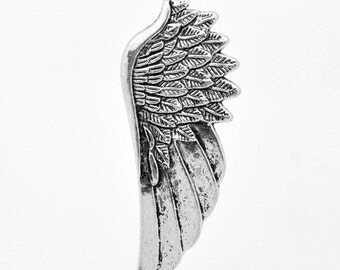 3 Angel Wings Charms - Antique Silver - 58x22mm - Ships IMMEDIATELY - SC956
