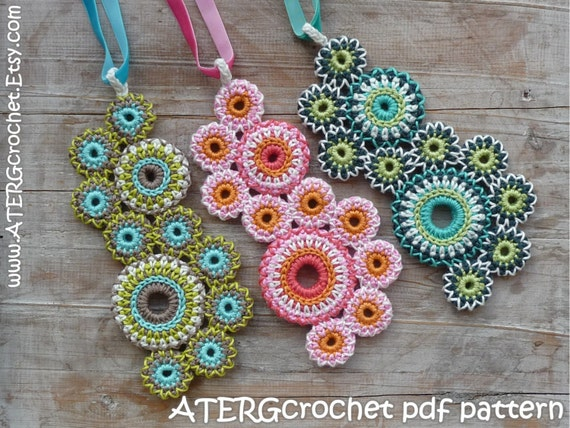Crochet pattern NECKLACE circles of life by by ATERGcrochet