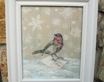 Vintage Bird Print Winter White Decor Vintage White Christmas Holiday Decor Decoration Let It Snow Framed Bird Original Painting