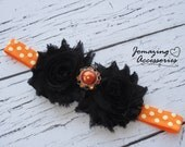 Halloween Baby Headband - Infant Headband - Black and Orange Baby Headband - Halloween Girls Headband - Orange Polka Dot Headband - Baby Bow