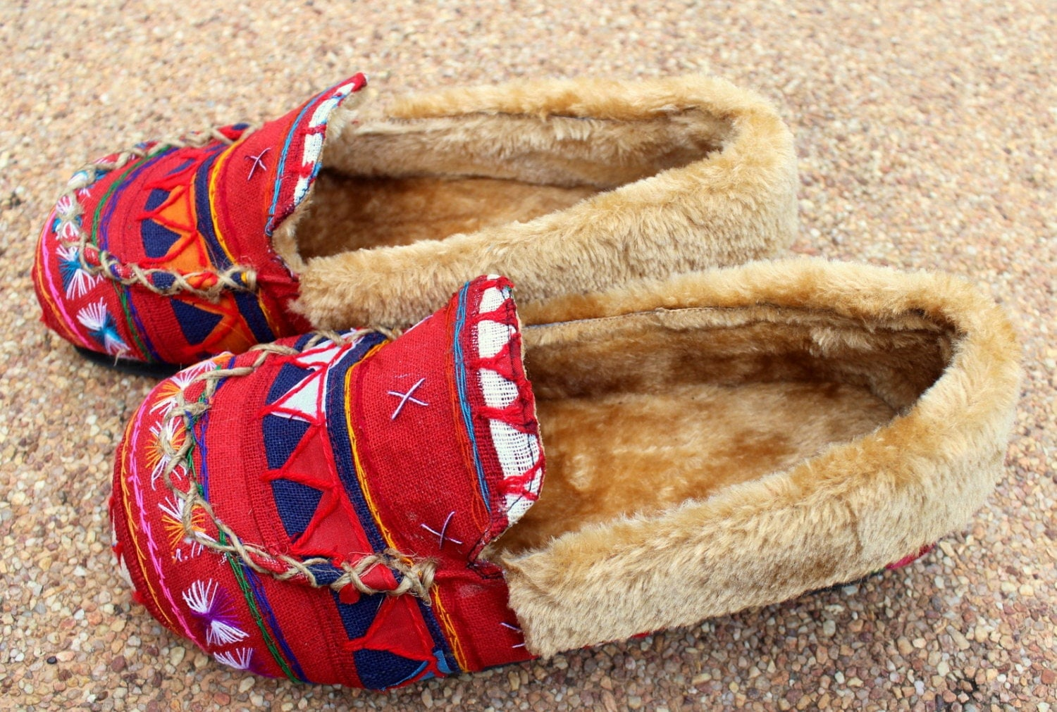 Womens Slippers In Colorful Red Tribal Akha Embroidery With