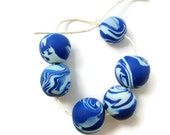 Beads handmade polymer clay blue & white marbled set of 6