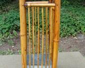 Antique Rattan Umbrella Stand Cane Rack w/ Galvanized Drip Catcher