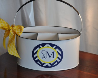 Personalized Utensil Holder/ Utensil Caddy/ Caddy/ White/ Yellow