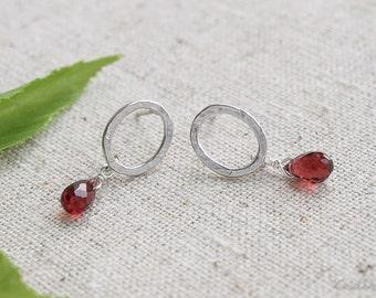 Small Garnet Dangles, January Birthstone, Garnet Earrings, Red Earrings, Valentines Day Gifts