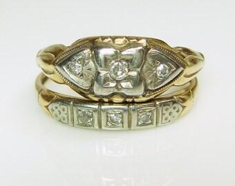 REDUCED!! 14k Art Deco Old Diamond Hearts Engagement & Wedding Ring Set by Keepsake