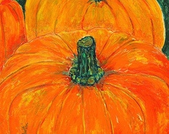 Pumpkins, Seasonal Decoration, Office. Kitchen, Halloween, Autumn, Original Acrylic  Painting by ebsq Artist Ricky Martin - FREE SHIPPING