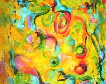 """Abstract Expressionism -  FREE SHIPPING - Certificate of Authenticity - 12"""" x 16""""  Vibrant modern  Original Acrylic Painting by Ricky Martin"""