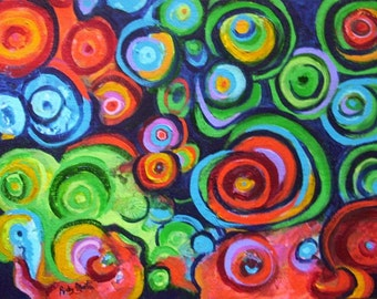 "Circles Abstract -  FREE SHIPPING - Certificate of Authenticity - 12"" x 16""  Vibrant modern  Original Acrylic Painting by Ricky Martin"