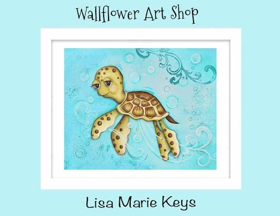 Turtle Bathroom Decor: Items Similar To Sea Turtle Childrens Kids Wall Art Ocean