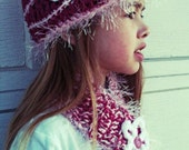 Girls Winter Hat & Scarf Set, pink with flowers