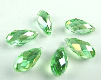 "Crystal, Briolette, Pendant, Beads, 13x6.5 mm / 0.5112 x 0.2559 "", 2 pcs, Peridot, light green, green amethyst, side drilled,"