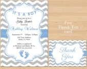 Printable Baby Shower Blue Grey Chevron Invitations Boy Gray Invite FREE Thank You Card