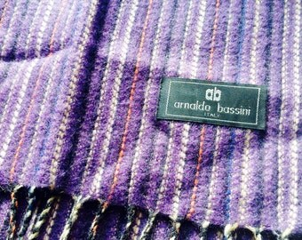 Arnaldo Bassini Wool Scarf Made in Italy Purple and Plum Colours