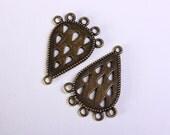6 Chandelier component pendant antique brass drop links 34mm 5 holes 6pcs (1154) - Flat rate shipping