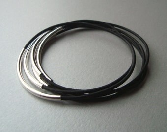 Black Leather Bangle Bracelets with Silver Plated Curved Tubes - Set of 5 - Minimalist Jewelry - Rocker Chic
