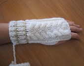 hand knitted handmade fingerless gloves - glitter, gold trimmed white, cream