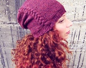 Knit Slouchy Hat Mens Unisex Red Womens Oversized Beanie Warm Winter Cap Crochet Braid Cable