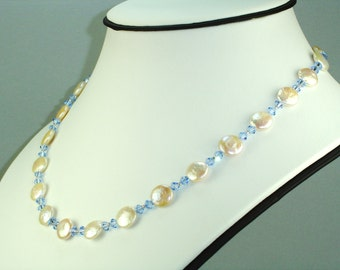 Freshwater Coin Pearl and Swarovski Sapphire Necklace Earring Set