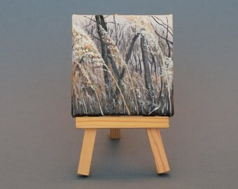 "Landscapes Original Acrylic Painting 3""x3"": Cascade Path"