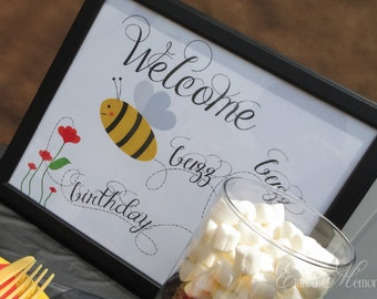 Buzz Buzz Welcome Sign - Birthday Party - DIY Bumble Bee Printable Party