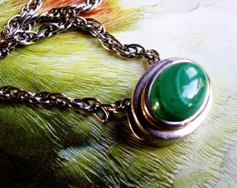 Vintage Malachite Natural Stone Slider East West Pendant Necklace