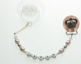 Personalized Name White Crown Pacifier clip (Also available in Pink and Blue) (CNAME)