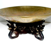 Chinese Brass etched bowl  on wood stand  Vintage brass  large bowl dragon bowl meditation bowl