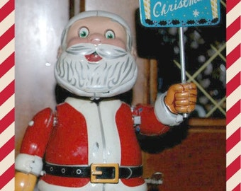sale vintage Santa TN    Tin Litho wind up Santa Claus toy mid century   collectible  mechanical  collectible toy