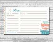 KITCHEN Shower Recipe Card - 3x5 INSTANT printable download - flowers rustic recipes cards PDF bridal kitchen shower pyrex aqua pink spoons
