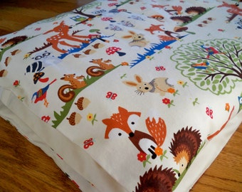 Toddler Duvet Cover, Crib Bedding - Designer Fabric - Forest Animals, Made to Order