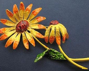 "Flower Brooch Signed ART Yellow Orange Enamel Paint Gold Metal 4"" Spring Vintage"