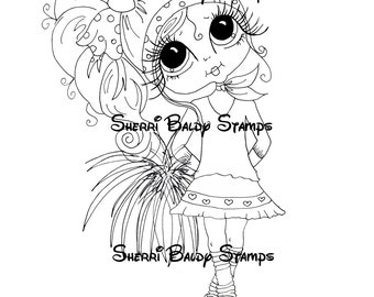INSTANT DOWNLOAD Digital Digi Stamps Big Eyed  My Bestie Digi Stamp Besties Big Head Dolls Bestie Banna Pie Pom Pom Girl By Sherri Baldy