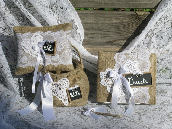 Cottage Rustic Burlap and White Crocheted Doily Wedding Accessories Set. Ring Bearer Pillow, Flower Girl Basket, Guest Book