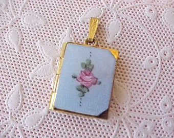 Lovely Little Vintage Powder Blue Enameled Locket with Hand Painted Pink Rose
