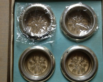 Pressed Glass and Silver Plated Coasters