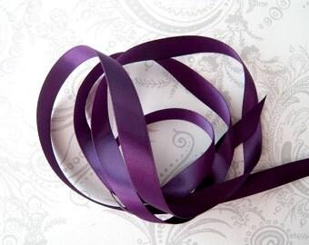 Acai Purple Satin Ribbon 3/8 -- 3 yards -- Single Faced -- Eggplant -- 9.5mm