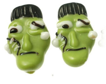 Handmade Lampwork Glass Beads -- Halloween Frankenstein