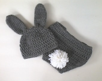 Little Bunny Easter Hat and Diaper Cover Photo Prop Baby Set