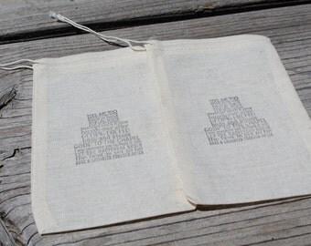 Set Of 10 Wedding Cake Bridal Organic Muslin Favor Bag