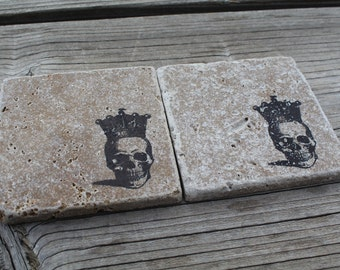 Set of 4 Skull Crown Tumbled Marble Coasters
