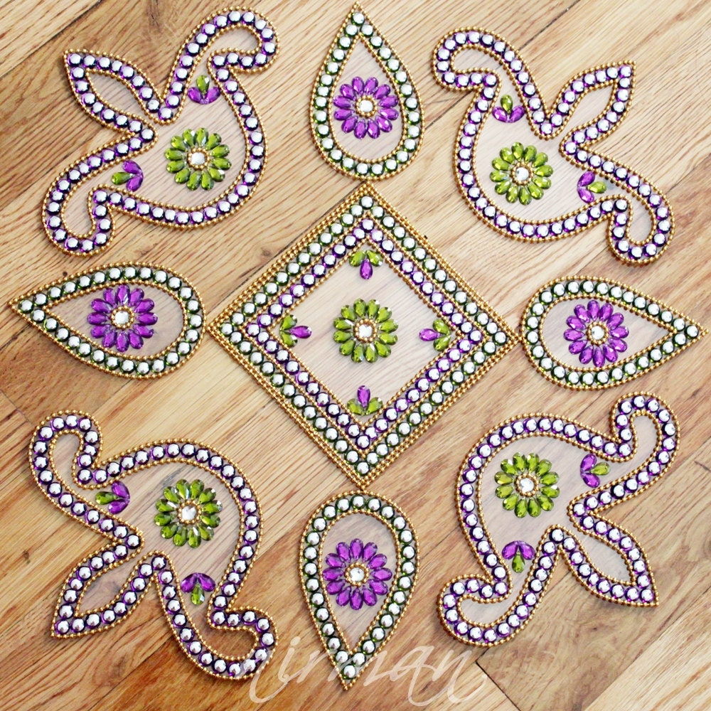 Kundan rangoli floor art set of 9 pieces for Floor rangoli design