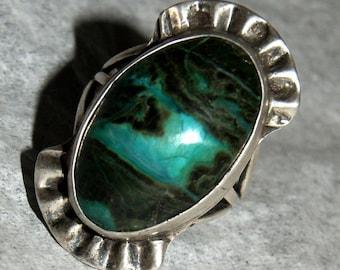 RARE BISBEE SHATTUCKITE Sterling Ring c1955 Navajo Size 6
