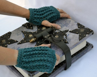 Heather teal ribbed hand warmers, fingerless gloves, mittens