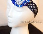 STACKED Detachable Blues Cookie Monster Polka Dot Headband Grosgrain Ribbon Women Girl Birthday Crochet Valentines