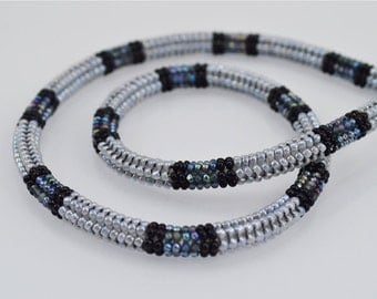 Ndebele Stitch Beadwork Necklace - Pearl Grey, Black, and Iridescent Grey