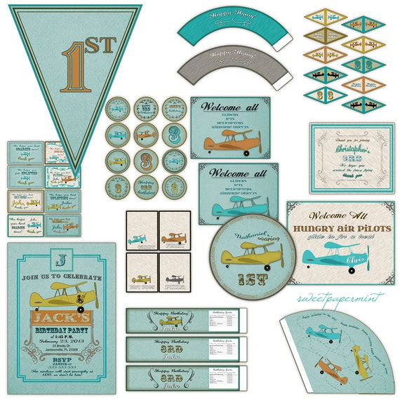 Printable Vintage Airplane Party Collection Diy By: Airplane Birthday Party
