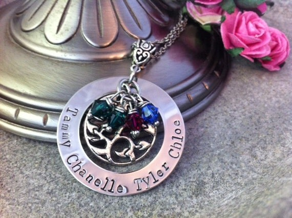 Family Tree Birthstone Personalized Hand Stamped Mothers Day Necklace