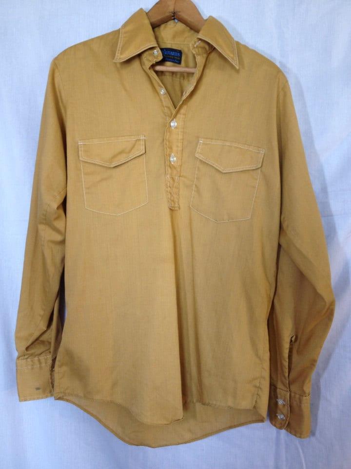1960s Vintage Men S Gold Mustard Hippie Shirt Long Sleeve