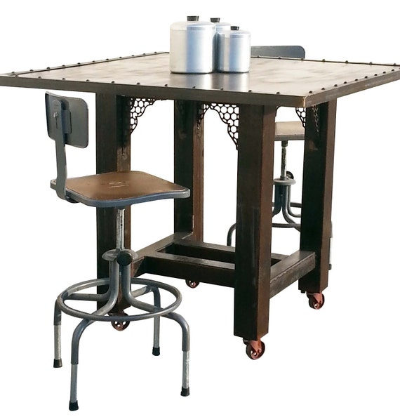 Industrial Steel Counter Height Pub Table By